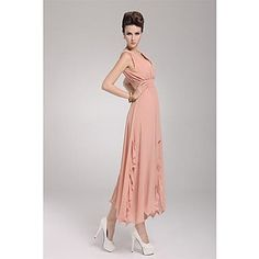 Women's Sexy / Casual / Party Solid Swing Dress , Deep V / Surplice Neck Maxi Chiffon 2016 - $19.99