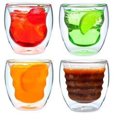 Curva Artisan Series Double Wall Beverage Glasses and Tumblers by Ozeri - Set of 4 Unique 8 oz Drinking Glasses, Clear
