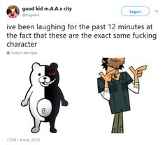 No wonder I was interested in this game! I loved watching Total Drama Island and now I'm playing Danganronpa 2 XDXD Danganronpa Funny, Danganronpa Characters, Stupid Memes, Funny Memes, O Drama, Total Drama Island, Know Your Meme, Haha, Funny Pictures