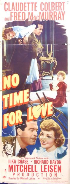 NO TIME FOR LOVE MOVIE POSTER! Claudette Colbert Fred MacMurray Romance 1943