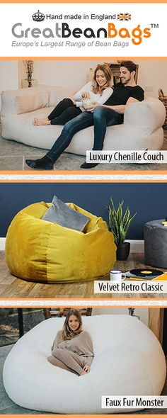 Europe's Largest Range of Bean Bags just got bigger. See the Luxury Chenille Bean Bag Couch, Velvet Retro Classic and Faux Fur Monster on site.