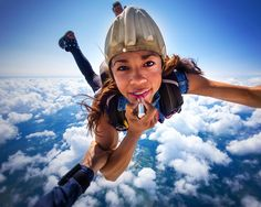 fashion photography skydiving free falling lipstick