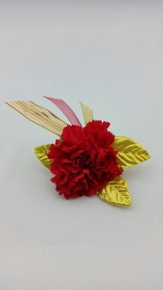 Red Carnation Bouttoniere with Gold and Red Accent