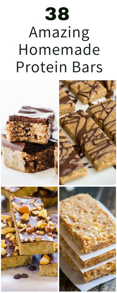 The 38 Best Homemade Protein Bars You Can Ever! Here we provide a unique combination of protein bar recipes which you can make and choose based on your own diet lifestyle and fitness goals via nutritionyoucan I Protein Desserts, Protein Smoothies, Protein Muffins, High Protein Snacks, Best Protein Bars, Protein Bar Recipes, Protein Cake, Protein Powder Recipes, Protein Foods