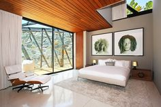Architecture: Modern Luxury Bedroom With White Bed Sheets And Fur Rug Also Eames Lounge Chair And Glass Skylight Wooden Ceiling Wide Glass Windows Design Ideas: The Clinton Residence in Beverly Hills Decorated in Neutral Colours