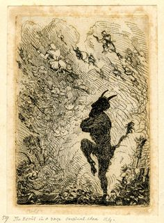 The devil dancing at a fire with arms crossed in profile to left, lifting one knee; witches riding broomsticks in the air, one seen in foreground at far right; head of another devil at far left. Etching. Print made by Richard Girling (1814-1869)
