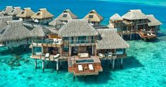 What a spectacular place for a holiday!  A girl can dream.  Presidential Overwater Villa at the Hilton Bora Bora Nui Resort and Spa, French Polynesia.