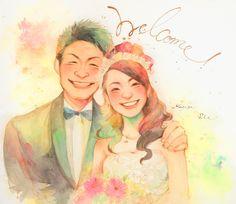 Family Drawing, Wedding Illustration, Couple Cartoon, Chibi, Wedding Photos, Wedding Inspiration, Drawings, Artist, Photography