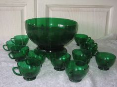 Anchor Hocking Forest Green Punch Bowl from by Daysgonebytreasures, $60.00