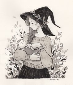 Inktober day 8, Daughter and Mother Dedicated to my mom