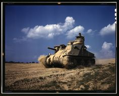 "M-3 tank during maneuvers at Ft Knox, Ky., 1942. The M-3 was named the ""Stuart"" by the British in commemoration of Confederate general J.E.B Stuart. To the United States Army, the tanks were officially known only as ""Light Tank M3"" and ""Light Tank M5"". In Europe, Allied light tanks had to be given cavalry and infantry fire support roles since their main cannon armament could not compete with heavier enemy armored fighting vehicles."