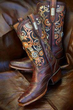 Steampunk design custom boot by Rocketbuster