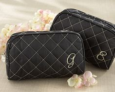 Monogrammed Quilted Cosmetic Bag (Kate Aspen 15012) | Buy at Wedding Favors Unlimited (http://www.weddingfavorsunlimited.com/monogrammed_quilted_cosmetic_bag.html).