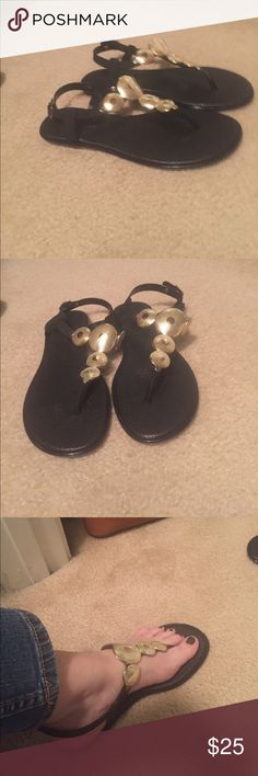 Great black n gold sandals Very cute black n good sandals  Cushions and comfortable. Brand new never wore.  Too small Bandolino Shoes Sandals