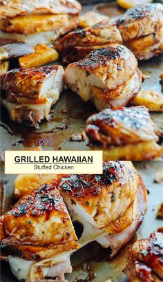 Here's one way to celebrate summer's greatest pastime. Fire up the grill for this Grilled Hawaiian Stuffed Chicken! Larger-than-life chicken. Grilling Recipes, Cooking Recipes, Healthy Recipes, Grilling Ideas, Delicious Recipes, Good Food, Yummy Food, Tasty, Grilled Chicken Recipes