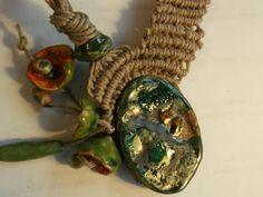 handmade Macramè necklace with ceramic cabuchons by fripperyart