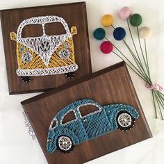 Volkswagon beetle or van Peace. Volkswagen Choose: VW van in board Beetle in board Stain and string colors are fully customizable<br> Fun Crafts, Diy And Crafts, Arts And Crafts, String Art Diy, String Crafts, String Art Patterns, Doily Patterns, Thread Art, Art Yarn