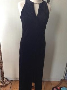 #Vintage   70's #black velvet column maxi  #dress sexy 10 12,  View more on the LINK: http://www.zeppy.io/product/gb/2/221965078193/
