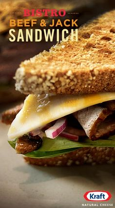 Bring home the French charm with our Bistro Beef & Jack Sandwich. The rich flavors of creamy KRAFT Colby Jack cheese and roast beef are set off with fresh touches like spinach and mushrooms in this flavorful favorite. I Love Food, Good Food, Yummy Food, Soup And Sandwich, Sandwich Recipes, Beef Recipes, Cooking Recipes, Recipies, Great Recipes