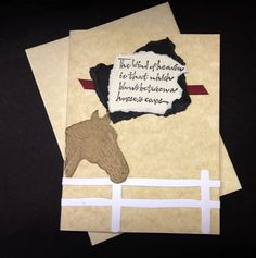 Handmade Sympathy Cards | Handmade sympathy card for horse loss. Leather-look parchment stock w ...