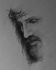 Jesus Christ Drawing, Jesus Christ Painting, Jesus Drawings, Christ Tattoo, Jesus Tattoo, Christian Drawings, Christian Art, Jesus Sketch, Sainte Rita