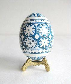 Blue and white Pysanka, batik egg on chicken egg shell, Ukrainian Easter egg, hand painted egg. $29.95, via Etsy.