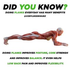 Do you even plank? -On of the most underrated movements for your core stability is a plank.-The basic plank is simple: Assume a modified push-up position with your elbows bent 90 degrees and both forearms resting on the floor. Position your elbows directly underneath your shoulders and look straight toward the floor. Your body should form a perfectly straight line from the crown of your head to your heels. Improve Flexibility, Improve Posture, Yoga Fitness, Fitness Tips, Health Fitness, Vie Motivation, Fitness Motivation, Fit Board Workouts, At Home Workouts