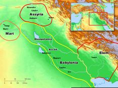 Maps of Ancient Mesopotamia, Babylon and Assyria. (Bible overview)