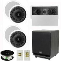 "Theater Solutions 5.1 Home Theater 8"" Ceiling Speakers, Center, 8"" Powered Sub and More TS80CL51SET3"