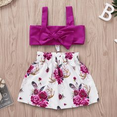 Toddler Girl Purple Floral Skirt Set Set includes: 1 Tube Top, 1 Skirt Size: - Color: Purple, Purple Floral Print Tube Top with Straps Bow Accent Elastic Waistband Skirt Cotton Cute Little Girls Outfits, Little Girl Fashion, Little Girl Dresses, Kids Outfits, Kids Fashion, Family Outfits, Toddler Fashion, Toddler Outfits, Girls Frock Design