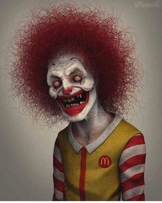 Wil Hughes is the artist behind this collection of iconic characters re-designed with a creepy twist. He is a self-taught sculptor. Gruseliger Clown, Creepy Clown, Creepy Art, Arte Horror, Horror Art, Creepy Horror, Horror Cartoon, Iconic Characters, Cartoon Characters