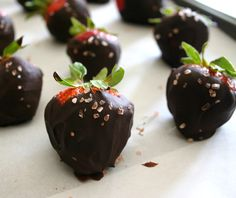 Prosecco Soaked Chocolate Covered Strawberries with Sea Salt