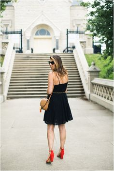 Old Navy Little Black Eyelet Dress * Affordable little black dress * Red Heels * Coral Block Heels * Summer Outfit Ideas * Date Night Outfit Ideas