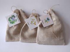 NOUVEAU - Pochons lin à tisanes et herbes avec étiquettes aquarelles : Cuisine et service de table par floartistique