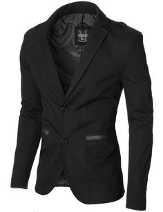 MODERNO Men's Casual 100% Cotton Blazer, Black (MOD14518B). FREE worldwide shipping! 30 days return policy