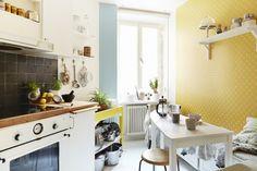 papel de pared amarillo idea para tu cocina