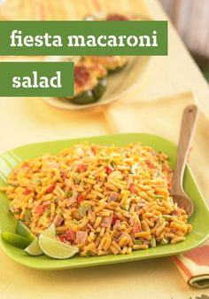 Fiesta Macaroni Salad -- This is one party-ready recipe! Mac & cheese makes a great pasta salad when mixed with chopped ham and crisp fresh vegetables.
