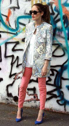 Floral Jacket + Coral Skinnies