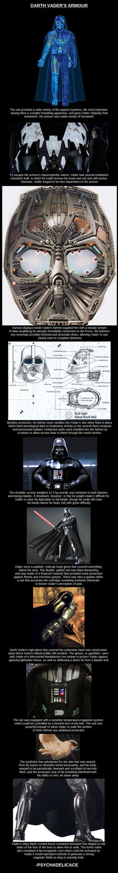 "Darth Vader's Armor.  Fun fact: Vader's boots actually pre-date his helmet - Lucas created a breath mask for his villain as he was originally walking on the outside of Leia's ship to enter it. The whole ""more machine than man"" idea evolved out of that concept."