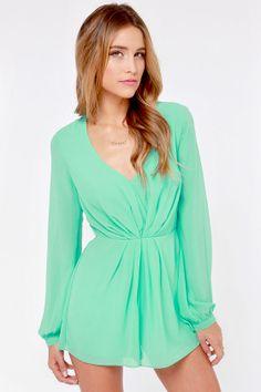 I Think I Candy Mint Green Romper at LuLus.com!