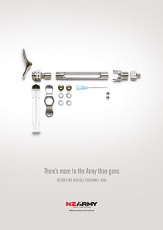 The Print Ad titled 'Disassemble' Medical was done by Saatchi & Saatchi New Zealand advertising agency for product: New Zealand Army (brand: New Zealand Defence Force/ NZDF) in New Zealand. Army Tags, Saatchi & Saatchi, Australian Defence Force, Ad Of The World, Light Project, Print Magazine, Ad Design, Graphic Design, Nurse Humor
