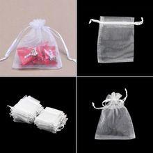 Atacado 100 pçs/lote Drawable Branco Pequenos Sacos de Organza 7x9 cm Favor Do Casamento Saco Do Presente de Natal Sacos de Embalagem de Jóias & Pouches(China (Mainland))