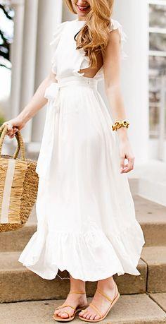 White Ruffled Maxi Dress