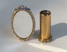 Rhinestone Lipstick case with Mirror by WhirleyShirley on Etsy