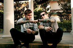 Rockabilly tattooed guys brofist