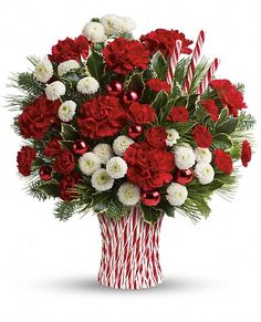 Teleflora's Peppermint Sticks Bouquet Flowers, Teleflora's Peppermint Sticks Flower Bouquet - Teleflora.com This sculpted ceramic peppermint stick vase is another sweet exclusive from Teleflora's Flowers-in-a-Gift collection. The perfect gift for everyone on your list - including teachers, office workers and even makes a great center piece! I LOVE this bouquet.