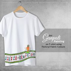 This Ganesh Chaturthi, turn your basic white T-shirt into a lovely creation. The combination of Warli and Madhubani design used to portray a Ganpati procession is sure to add a festive spirit.