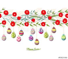"Download the royalty-free photo ""easter eggs hanging on the florals"" created by ngocdai86 at the lowest price on Fotolia.com. Browse our cheap image bank online to find the perfect stock photo for your marketing projects!"