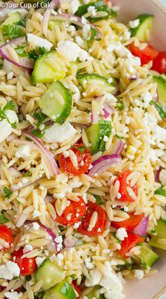 Easy to make Best Orzo Pasta Salad that will make the whole family say yum. It's so quick and easy too.