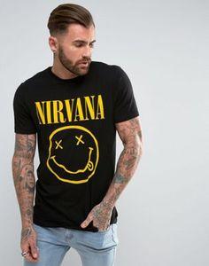 ASOS - Nirvana - T-shirt long de groupe avec imprimé visage